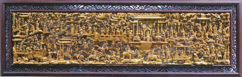 木雕规格300*350*9cm(红楼梦·大观园)得到国内外
